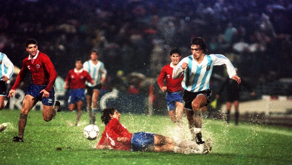 Gabriel Batistuta skipping away from a man for his country.