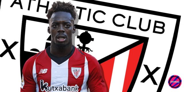 Inaki Williams infront of Bilbao badge