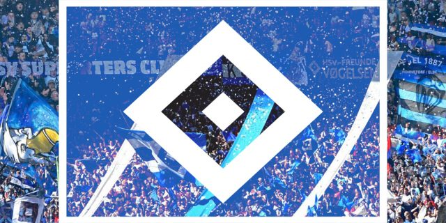 HSV Hamburg flag and fans
