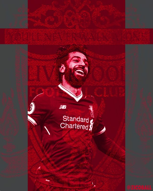 Mo Salah celebrating infant of a distressed Liverpool badge.