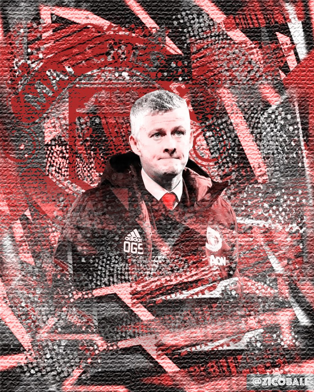Ole Gunnar Solskjaer and a United logo amongst an abstract background.
