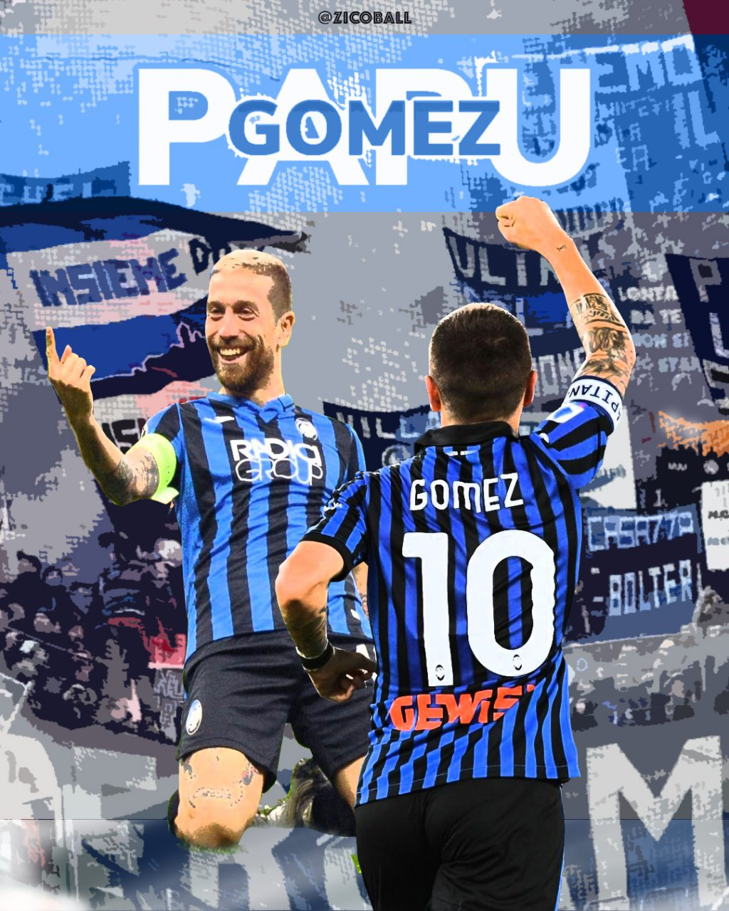Papu Gomez celebrating infant of a background of adoring Atalanta fans.