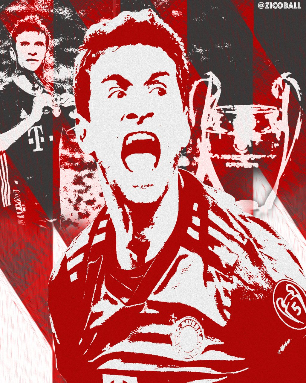 Thomas Muller in a Champions League themed mashup Image