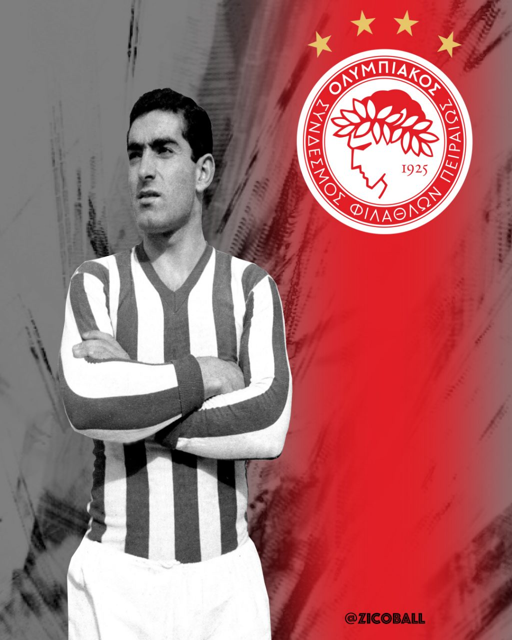 GIORGOS SIDERIS, an Olympiacos great, stands arms folded with a modern day Olympiacos badge over his left shoulder.