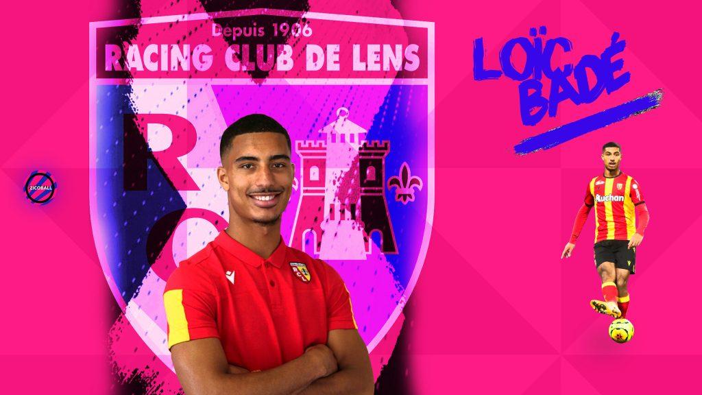 Loïc Baldé infront of the RC Lens badge.