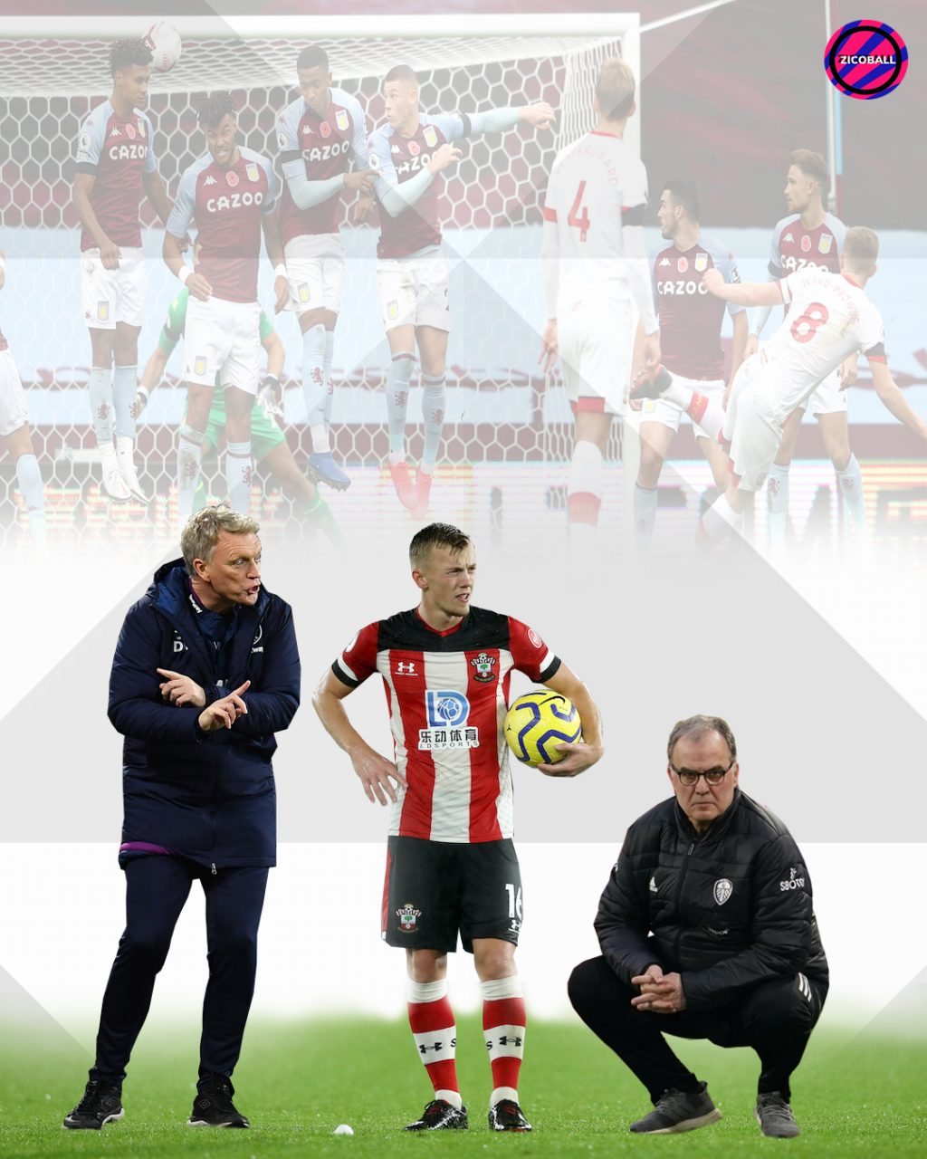 James Ward-Prowse, Bielsa and Moyes standing over a free kick