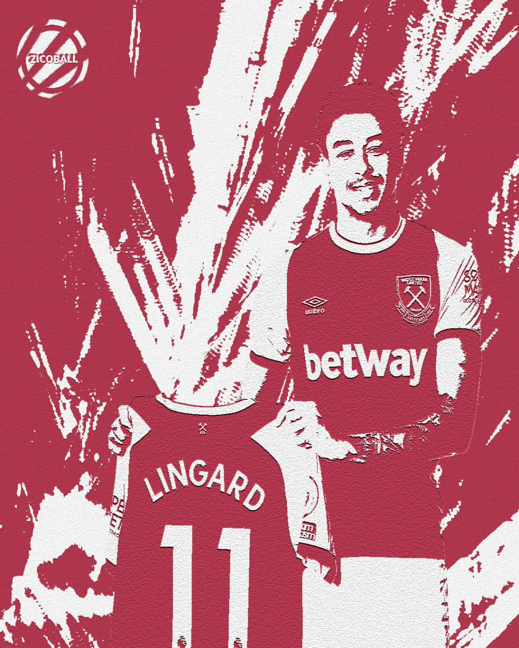 Deadline Day: Jesse Lingard holding a West Ham shirt up after his signing - image in a painted affect.