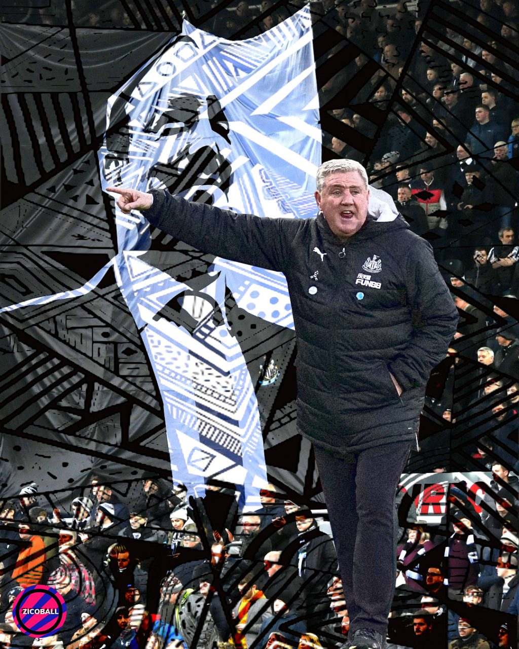 Steve Bruce stood infront of Newcastle fans and Rafa Benitez