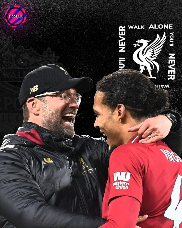 Klopp and Vand Dijk embracing